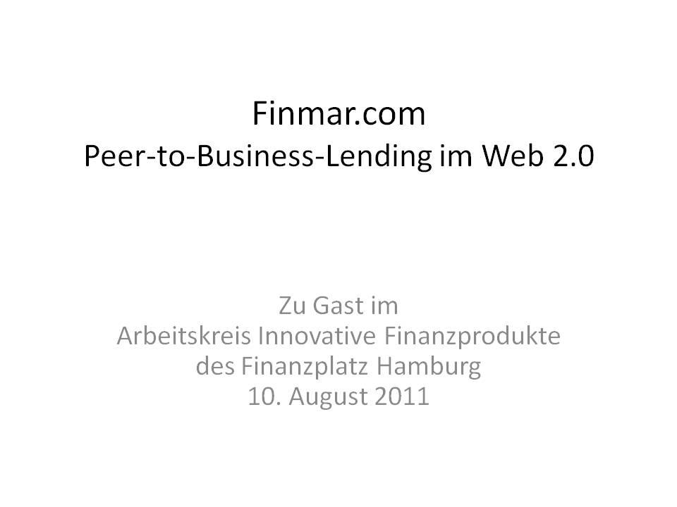 Premiere – Finmar stellt sich in der Handelskammer Hamburg vor! – Post #2