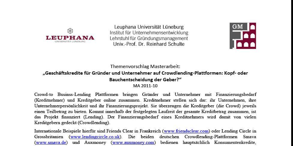 3 Masterarbeiten an der Leuphana Universität Lüneburg ausgeschrieben – Post #5