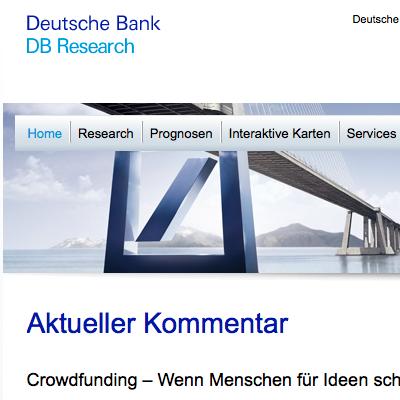 Deutsche Bank begrüßt Crowdfunding – und sagt doch nur die halbe Wahrheit – Post #20